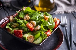 Fattoush with Shrimps